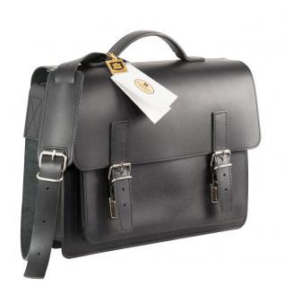Hamosons - Mittel-Große Aktentasche / Lehrertasche Größe M aus Leder, Schwarz, Modell 605