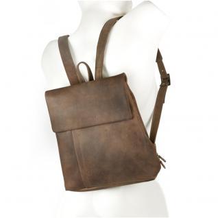 Harolds - Kleiner Lederrucksack Größe S / Rucksack-Handtasche aus Leder, Natur-Braun, Modell 418303