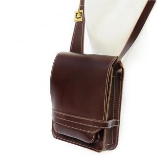 Jahn-Tasche - Kleine Herren-Handtasche Größe S / Umhängetasche aus Leder, A5 Hochformat, Braun, Modell 684