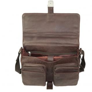 Jahn-Tasche - Elegante Aktentasche Größe L / Laptoptasche bis 15, 6 Zoll, aus Nappa-Leder, Braun, Modell 750 - Vorschau 3