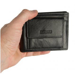 Branco - Kleine Geldklammer Geldbörse / Dollarclip Portemonnaie Größe S für Herren aus Leder, Schwarz, Modell 16749