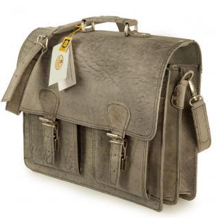 Hamosons - Klassische Aktentasche / Lehrertasche Größe L aus Büffel-Leder, Dunkel-Grau, Modell 600