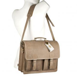 Hamosons - Klassische Aktentasche / Lehrertasche Größe L aus Büffel-Leder, Creme-Beige, Modell 600 - Vorschau 5