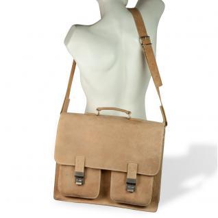 Hamosons - Große Aktentasche / Lehrertasche Größe XL aus Büffel-Leder, Creme-Beige, Modell 690 - Vorschau 5