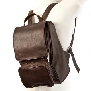 Jahn-Tasche - Mittel-Großer Lederrucksack Größe M / Laptop-Rucksack bis 14 Zoll, Braun, Modell 710