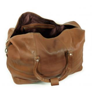 Jahn-Tasche - Große Reisetasche / Weekender Größe L aus Nappa-Leder, Cognac-Braun, Modell 697 - Vorschau 4