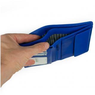 Branco - Große Geldbörse / Portemonnaie Größe L für Herren aus Leder, Hochformat, Azur-Blau, Modell 12005 - Vorschau 4