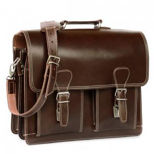 Hamosons - Klassische Aktentasche / Lehrertasche Größe L aus Leder, Braun, Modell 600