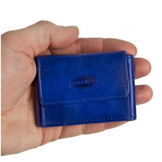 Branco - Sehr Kleine Geldbörse / Mini Portemonnaie Größe XS aus Leder, Azur-Blau, Modell 103