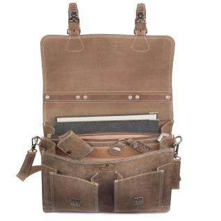 Hamosons - Klassische Aktentasche / Lehrertasche Größe L aus Büffel-Leder, Matt-Braun, Modell 600 - Vorschau 3