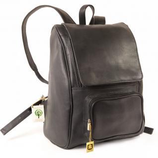 Jahn-Tasche - Großer Lederrucksack Größe L / Laptop-Rucksack bis 15, 6 Zoll, Schwarz, Modell 711