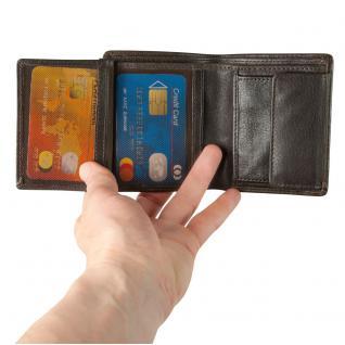 Hamosons - Kleine Geldbörse / Portemonnaie Größe S für Herren aus Leder, Hochformat, Braun, Modell 105 - Vorschau 3