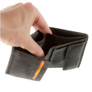 Hamosons - Kleine Geldbörse / Portemonnaie Größe S für Herren aus Leder, Hochformat, Braun, Modell 105 - Vorschau 4