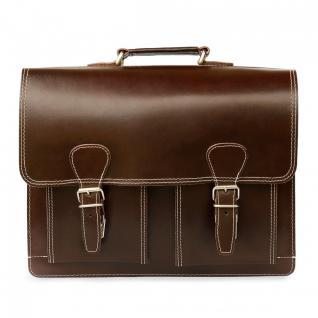Hamosons - Klassische Aktentasche / Lehrertasche Größe L aus Leder, Braun, Modell 600 - Vorschau 2