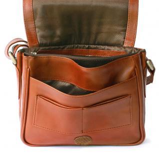 Hamosons - Kleine Damen-Handtasche Größe XS / Umhängetasche aus geöltem Leder, Kastanien-Braun, Modell 575 - Vorschau 3