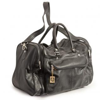 Hamosons - Mittel-Große Reisetasche / Weekender Größe M aus Nappa-Leder, Schwarz, Modell 696