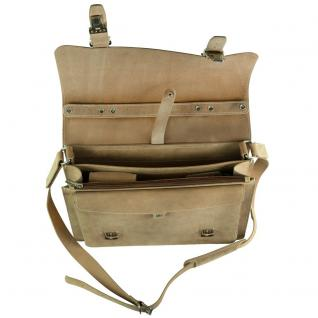 Hamosons - Mittel-Große Aktentasche / Lehrertasche Größe M aus Büffel-Leder, Creme-Beige, Modell 605 - Vorschau 3