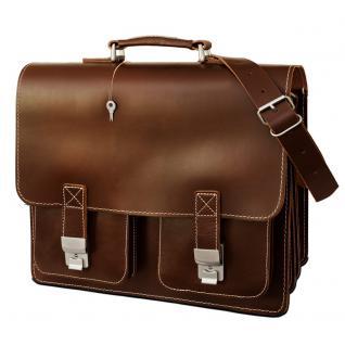 Hamosons - Große Aktentasche / Lehrertasche Größe XL aus Leder, Braun, Modell 690 - Vorschau 3