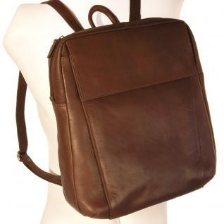 Branco - Eleganter Lederrucksack Größe M / Laptop-Rucksack bis 14 Zoll, Braun, Modell br171