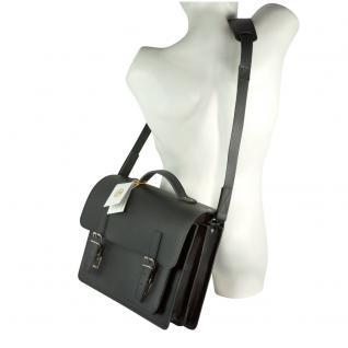 Hamosons - Mittel-Große Aktentasche / Lehrertasche Größe M aus Leder, Schwarz, Modell 605 - Vorschau 5