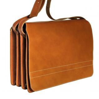 Jahn-Tasche - Sehr Große Aktentasche / Lehrertasche Größe XXL aus Leder, Cognac-Braun, Modell 677