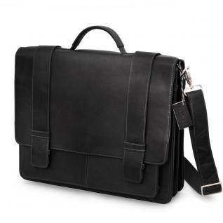 Harolds - Klassische Aktentasche / Lehrertasche Größe L aus Leder, Schwarz, Modell 294035