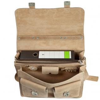Hamosons - Große Aktentasche / Lehrertasche Größe XL aus Büffel-Leder, Creme-Beige, Modell 690 - Vorschau 2