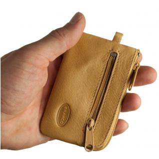 Branco - Kleines Schlüsseletui / Schlüsselmäppchen aus Leder, Natur-Beige, Modell 019