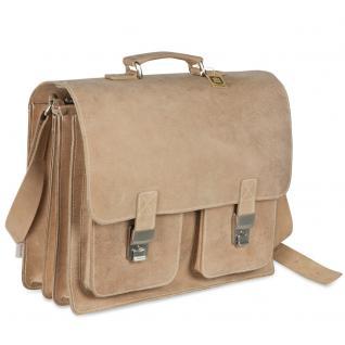Hamosons - Große Aktentasche / Lehrertasche Größe XL aus Büffel-Leder, Creme-Beige, Modell 690