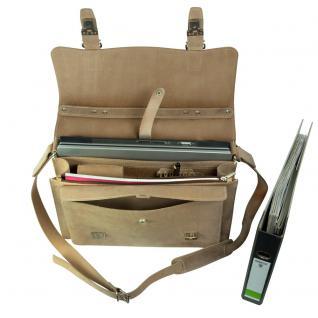 Hamosons - Mittel-Große Aktentasche / Lehrertasche Größe M aus Büffel-Leder, Creme-Beige, Modell 605 - Vorschau 4