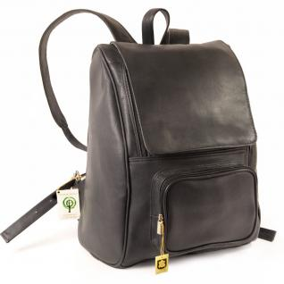 Jahn-Tasche - Großer Lederrucksack Größe L / Laptop Rucksack bis 15, 6 Zoll, Schwarz, Modell 711