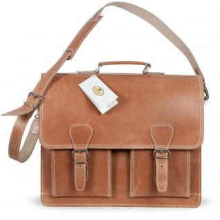 Hamosons - Klassische Aktentasche / Lehrertasche Größe L aus Leder, Natur-Braun two-tone, Modell 600 - Vorschau 5