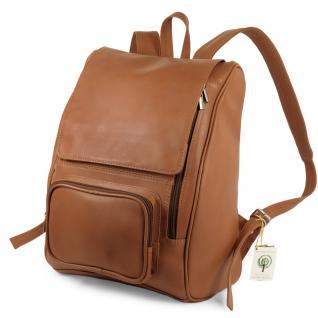 Jahn-Tasche - Großer Lederrucksack Größe L / Laptop-Rucksack bis 15, 6 Zoll, Cognac-Braun, Modell 711