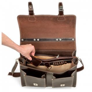 Hamosons - Klassische Aktentasche / Lehrertasche Größe L aus Leder, Braun, Modell 600 - Vorschau 4