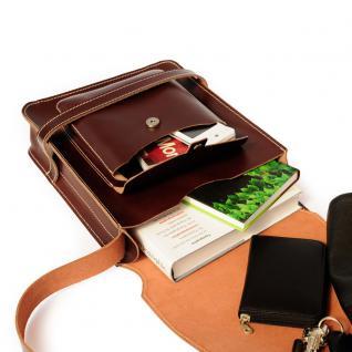 Jahn-Tasche - Herren-Handtasche Größe M / Umhängetasche aus Leder, A4 Hochformat, Braun, Modell 685 - Vorschau 4
