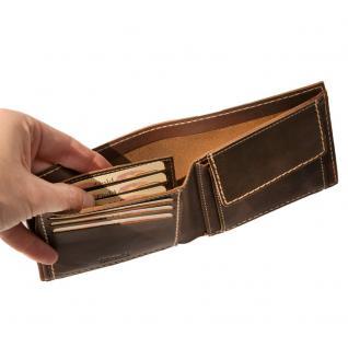 Branco - Mittel-Große Geldbörse / Portemonnaie Größe M für Herren aus Leder, Querformat, Braun, Modell 14405 - Vorschau 5