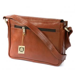 Hamosons - Kleine Damen-Handtasche Größe XS / Umhängetasche aus geöltem Leder, Kastanien-Braun, Modell 575 - Vorschau 5