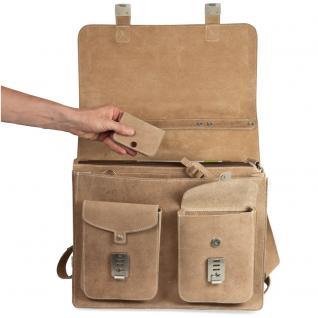 Hamosons - Große Aktentasche / Lehrertasche Größe XL aus Büffel-Leder, Creme-Beige, Modell 690 - Vorschau 3