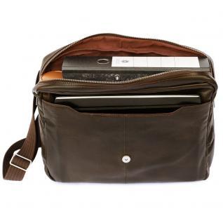 Jahn-Tasche - Elegante Laptoptasche Größe M / Notebooktasche bis 14 Zoll, aus Nappa-Leder, Braun, Modell 438 - Vorschau 3