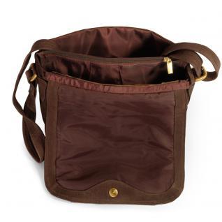 Hamosons - Damen-Handtasche Größe M / Umhängetasche im Retro-Look aus Büffel-Leder, Braun, Modell 577 - Vorschau 4