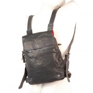 Harolds - Kleiner Lederrucksack Größe S / Rucksack-Handtasche aus Leder, Blau-Schwarz, Modell 223702 - Vorschau 2