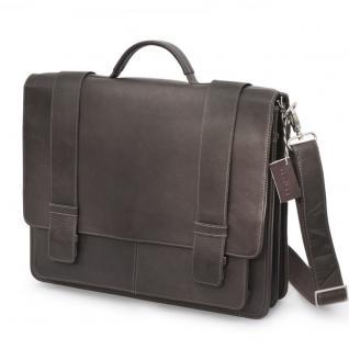 Harolds - Klassische Aktentasche / Lehrertasche Größe L aus Leder, Dunkel-Braun, Modell 294035
