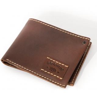 Branco - Mittel-Große Geldbörse / Portemonnaie Größe M für Herren aus Leder, Querformat, Braun, Modell 14405