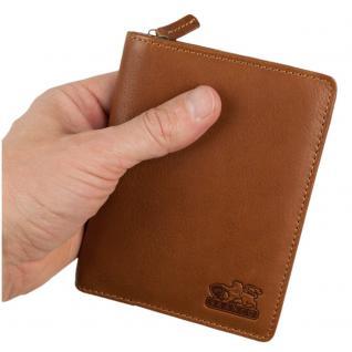 Branco - Große Geldbörse / Portemonnaie Größe L für Herren aus Leder, Hochformat, Cognac-Braun, Modell 35009