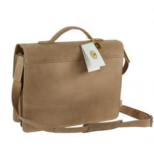 Hamosons - Mittel-Große Aktentasche / Lehrertasche Größe M aus Büffel-Leder, Creme-Beige, Modell 605 - Vorschau 5
