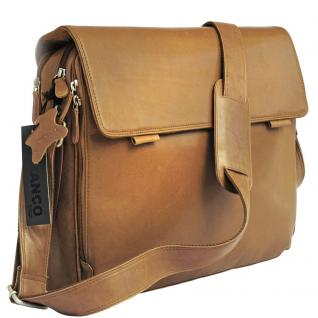 Branco - Elegante Laptoptasche Größe L / Notebooktasche bis 15, 6 Zoll, aus Leder, Cognac-Braun, Modell br170