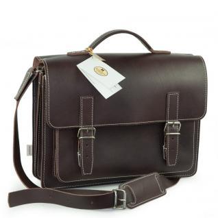 Hamosons - Mittel-Große Aktentasche / Lehrertasche Größe M aus Leder, Braun, Modell 605