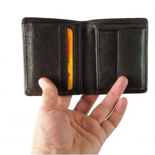 Hamosons - Kleine Geldbörse / Portemonnaie Größe S für Herren aus Leder, Hochformat, Braun, Modell 105 - Vorschau 2