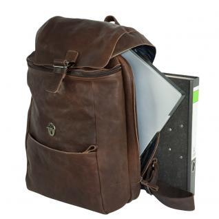 Harolds - Vintage Lederrucksack Größe M / Retro Laptop Rucksack bis 14 Zoll, Braun, Modell 258102 - Vorschau 3