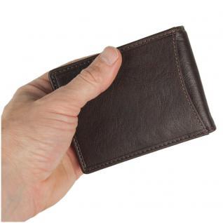 Branco - Kleine Geldklammer Geldbörse / Dollarclip Portemonnaie Größe S für Herren aus Leder, Braun, Modell 16749 - Vorschau 2